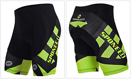 Sponeed Men's Cycle Shorts Tights Biking Bicycle Bike Bottom Padds Asia XXL/ US XL Green Hornet Compression Cycle Short