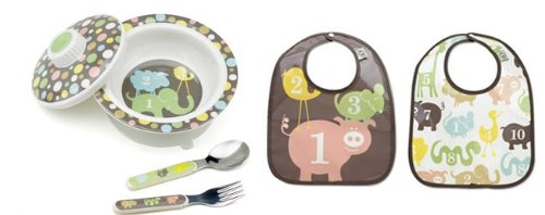 Sugarbooger Covered Bowl, Silverware, and 2 Bibs Set-Numbers - 1