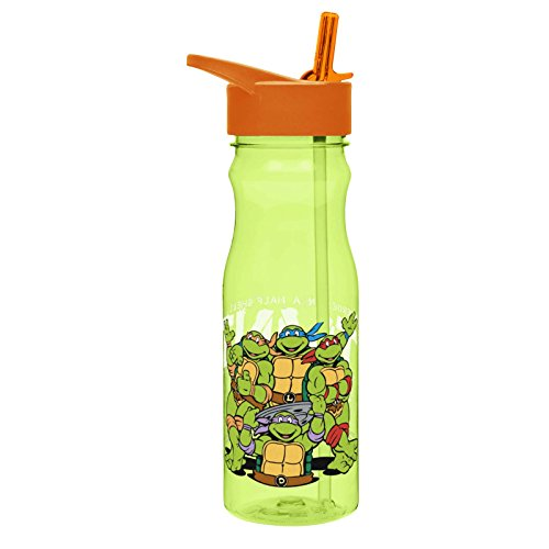 Zak! Designs Tritan Water Bottle with Flip-Up Spout and Straw featuring the Teenage Mutant Ninja Turtles, Break-resistant and BPA-free Plastic, 25 oz. (Ninja Turtles Water compare prices)