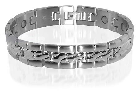 Mens Stainless Steel Magnetic Golf Bracelet 8 &#8221; Long with Fold over Clasps