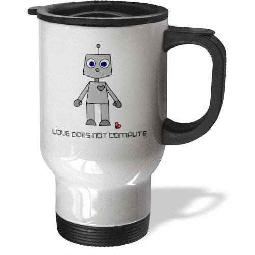 3Drose Love Does Not Compute Robot Travel Mug, 14-Ounce