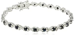 """Amazon+Curated+Collection Sterling Silver Black Sapphire and Diamond Bracelet (0.02 cttw, H-I Color, I2-I3 Clarity), 7"""""""