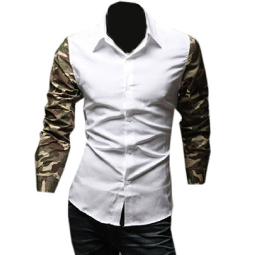 Partiss Mens Camouflage Pattern Button-down Shirt Large,White
