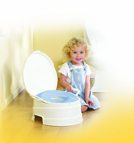Pri 4-In-1 Soft Seat Toilet Trainer And Step Stool White With Pastel Blue Seat New Born, Baby, Child, Kid, Infant