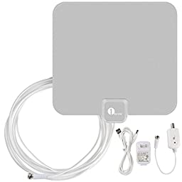 1byone 40 Miles Amplified HDTV Antenna with USB Power Supply 16.5 Feet Coaxial Cable - Silver/Black