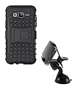 Hard Dual Tough Military Grade Defender Series Bumper back case with Flip Kick Stand for Samsung G355 + 360 Degree Car Mobile Holder Mount Bracket Holder Stand By Carla Store.