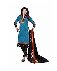 Sadiya Fashion Women's Blue Printed Cotton Dress Material