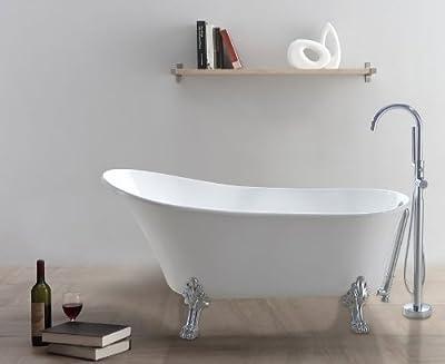 """freistehende Designer Badewanne """"Classico-W"""" - klassisches Design - durchgefärbtes Sanitäracryl, weiß - 100% gegossen, Top-Qualität - verchromte Füße - inkl. Pop-up Ablaufgarnitur - Wasserinhalt: 241 Liter - 5 Jahre Garantie - hergestellt nach ISO 9..."""