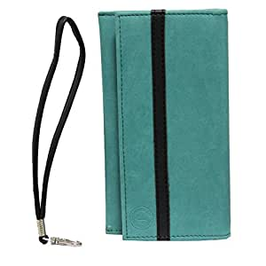 Jo Jo A5 Nillofer Leather Wallet Universal Pouch Cover Case For Micromax Superfone Punk A44 Light Blue Black