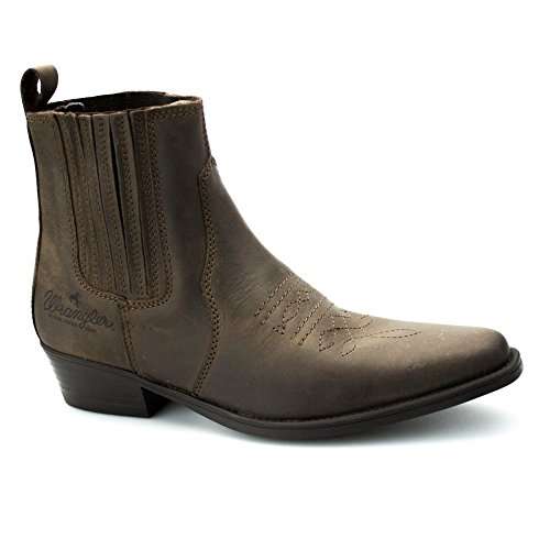 Wrangler TEXAS bassa da uomo, in pelle alla caviglia stivali da cowboy marrone scuro, marrone (Brown), 47