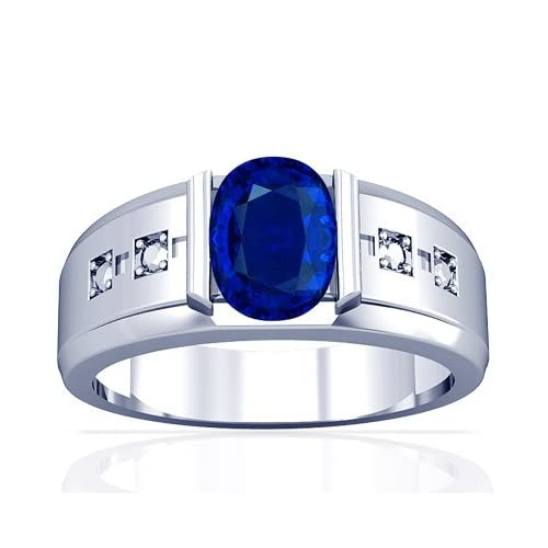 18K White Gold Oval Cut Blue Sapphire Mens Ring Jewelry