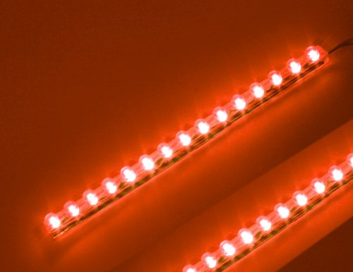 Red 15Cm (6 Inch) Pvc Led Strip 15 Led Waterproof Flexible Pre-Wired (2 Pack)
