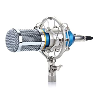 Floureon Condenser Sound Studio Recording Broadcasting Microphone Set w/ Arm Stand + Pop Filter from Floureon