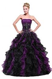 Efashion Women\'s Special Occasion Party Evening Dress Multicolor(Purple&Black) Size 10