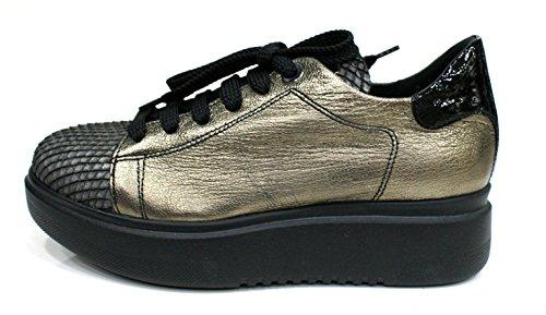 D'Acquasparta Sneaker Donna Patrizia Fondo Alto Cm 4 Platino / Grigio_39