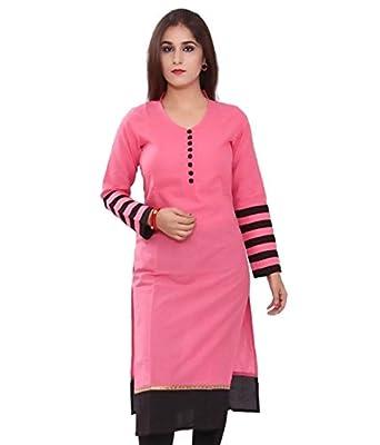 Vatsla Women's Pink and Black Cotton Kurta (VKR-51001_Pink_Black)