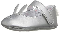 Rosie Pope Kids Footwear Prewalker Bunny Mary Jane Crib Shoe (Infant), Silver, 6-9 Months M US Infant