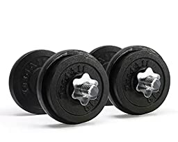 Yes4All Adjustable Cast Iron Dumbbells (Black), 60 lbs