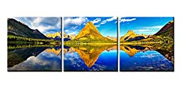Canvas Print Wall Art Painting For Home Decor Beautiful Summer Sunset Landscape Of Rocky Mountain Peaks Of Glacier National Park Montana Usa With Blue Sky And Gree Trees Reflection 3 Pieces Panel Paintings Modern Giclee Stretched And Framed Artwork The Pi