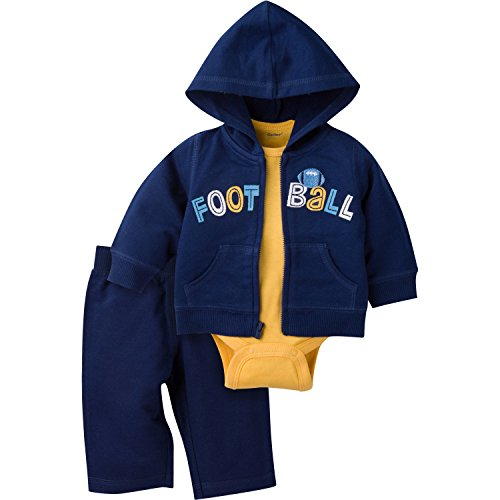 Gerber Boys' 3 Piece Hooded Jacket Bodysuit and Pant Set, Football, 12 Months