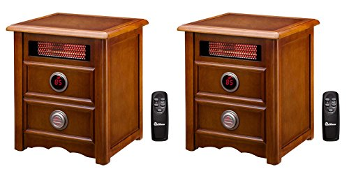 (2) Dr. Infrared Heater Dr-999 1500W Electric Cherry Cabinet Stand Space Heaters