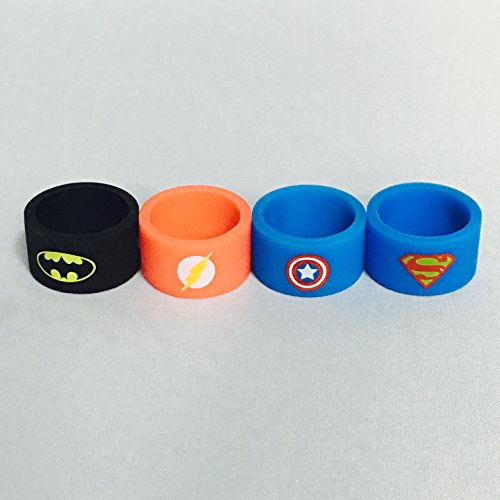 Silicone Superhero Vape Bands Tank Band Batman Superman Flash Captain America (Assortment B (4 Pack)) (Tank Band compare prices)