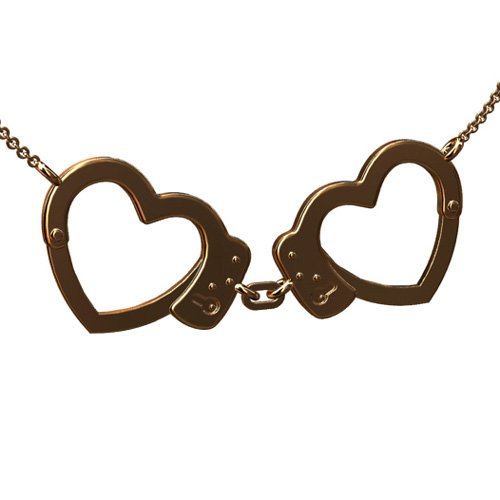 14K Pink Gold Police Heart Handcuffs Pendant