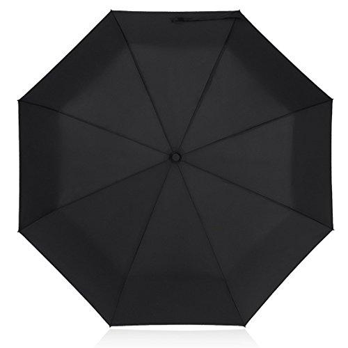 PLEMO Paraguas de Viaje Plegable Automático Negro Clásico