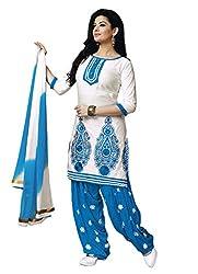 Salwar Studio Womens Cotton Unstitched Dress Material (Rp-1001 _White & Blue)