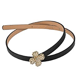 Rhinestone Decor Metal Clover Press Buckle Solid Color Skinny Belt for Women