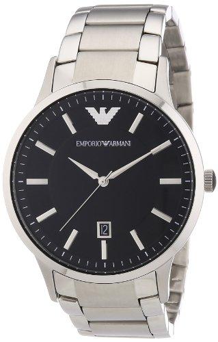 Emporio Armani AR2457 - Reloj analógico de cuarzo para hombre, correa de acero inoxidable color plateado