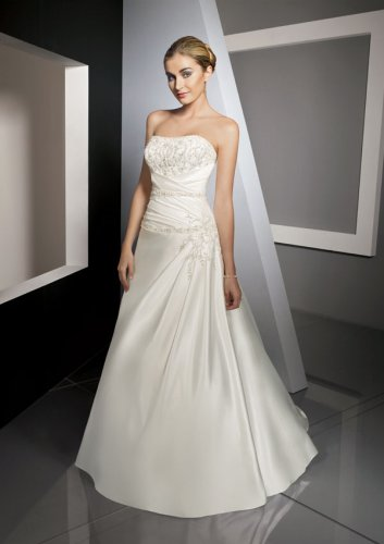 Duchess Satin with Embroidered Wedding Gown
