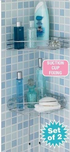 Great Ideas Bathroom Corner Shelves - Set of 2 Chrome Steel Wire Shelf / Shelving Fittings - Suction Cups - Easy To Fit With No Tools Required