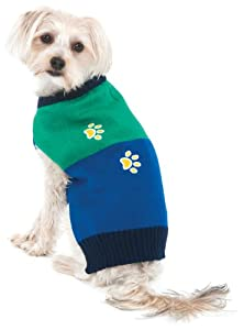 Fashion Pet Lookin Good Four Paws Crewneck Sweater for Dogs, Medium, Green