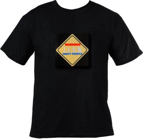 """T-Shirt LED meglietta """"Warning party people"""" (3 colori, 100% cotone, sensibilitá microfono regolabile, rimovibile per lavaggio) taglia XL"""