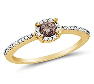 Size 9.5 - 10K Yellow Gold Chocolate Brown & White Round Diamond Halo Circle Engagement Ring - Prong Set Solitaire Center Setting Shape with Channel Set Side Stones (.36 cttw.)