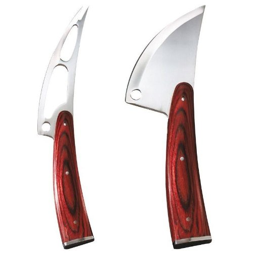 Trudeau Circo Stainless Steel Soft & Hard Cheese Knife Set W/ Pakka Wood Handles