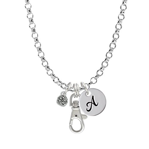 Mini Sand Dollar Two Sided Initial - A - Badge Clip Necklace