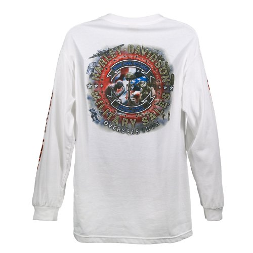 Harley-Davidson Overseas Tour Far East Custom Military Long Sleeve T-Shirt Men's Large White