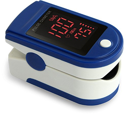 Zacurate Pro Series CMS 500DL Fingertip Pulse Oximeter Blood Oxygen Saturation Monitor with silicon cover, batteries and lanyard (Sapphire Blue) (Sensors Oxigen compare prices)