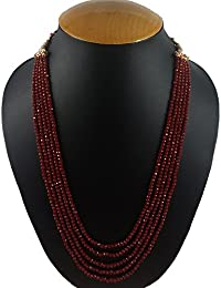 Aradhya Five Layer Mehroon Color Crystal Beads Necklace For Women And Girls