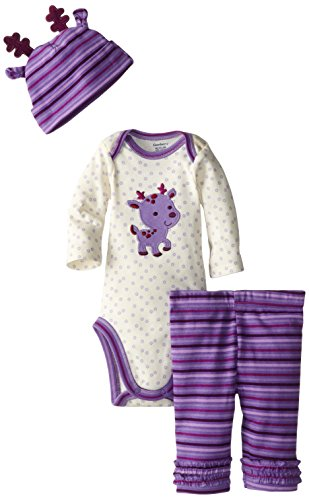 Gerber Baby-Girls Newborn 3 Piece Set Bodysuit Cap And Legging - Reindeer, Purple, 6-9 Months front-261318