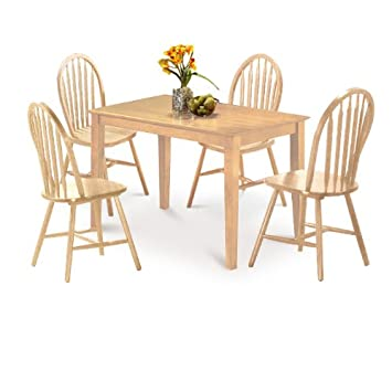New Natural Finish Arrow Back Dining Table Set 4 Chairs