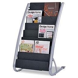 Alba - Literature Floor Display Rack Eight Pocket 22.2W X 18.4D X 36H Black/Steel \