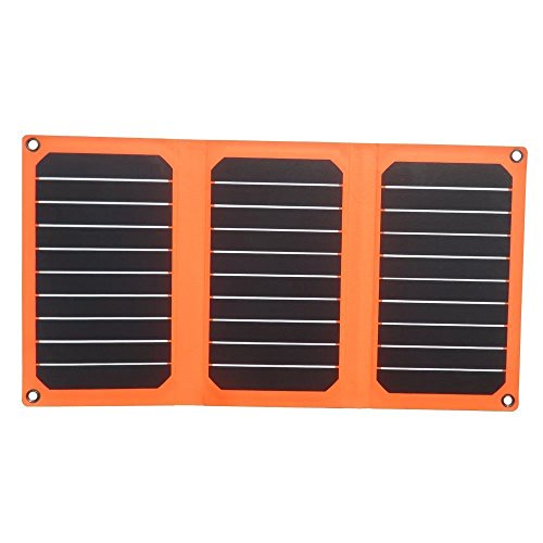 Solar charger,PowerGreen 21W Folding Solar Panel Charger with Dual USB Ports for All 5V Digital Cell Phones,Emergency Camping&Hiking(Orange) (40w Solar Panel Folding compare prices)