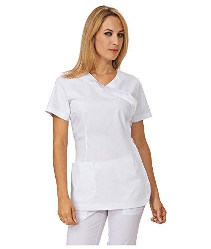 """SIGGI - Casacca """"Loren"""" donna in poliestere/cotone colori vari. Una tasca. Peso al mq. gr. 130 - Taglia: L - Varianti: bianco"""