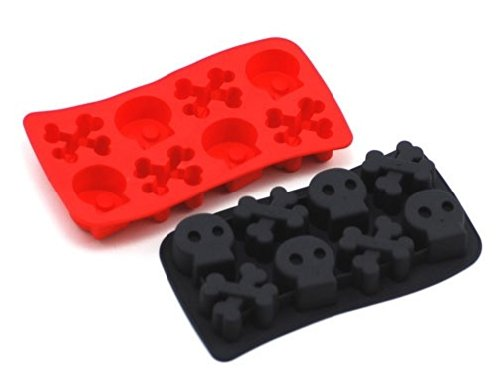 DGI MART Home Kitchen Use Frozen Food Candy Cookie DIY Making Mold Tray 8-cavity Home or Party Use Skull and Bones Shaped Ice Cake Chocolate Sugar Silicone Mini Cube Craft Fondant Mold Tray(Send by Random Colour)