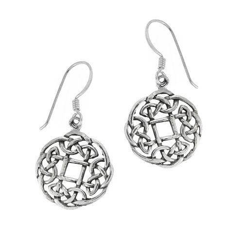 Sterling Silver Celtic Knot Round Drop Earrings