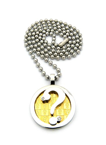 """Two Tone Male Gender Print Question Mark Pendant Necklace With 3Mm 24"""" Stainless Steel Ball Chain"""