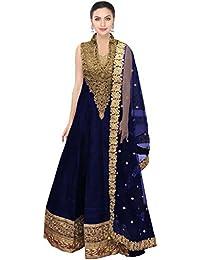 Designer Beautiful Blue Raw Silk Embroidery Work Semi-Stitched Lahenga Choli